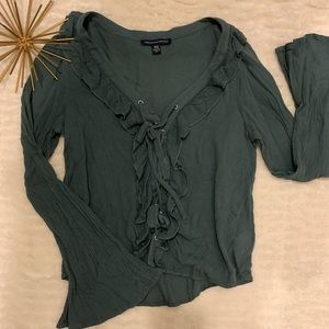 Like New American Eagle Olive Green Blouse X-Small